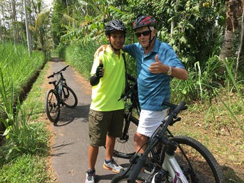 at start point of bike ride with guide Kadek