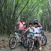 family photo inside bamboo forest