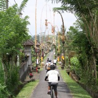 cycling through beautiful village