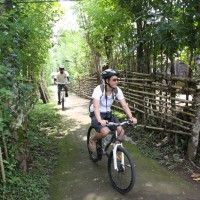 cycle through  bali rural path