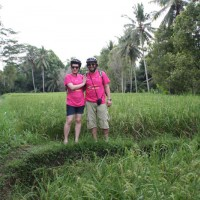 in the middle of rice paddies