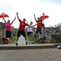 jumping photo at Penglipuran village