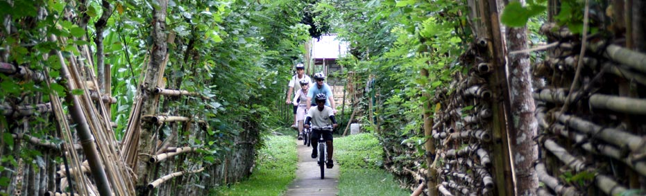 Cycling through unspoiled countryside of Bali