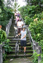 Walk down the steps to access Pura Taman
